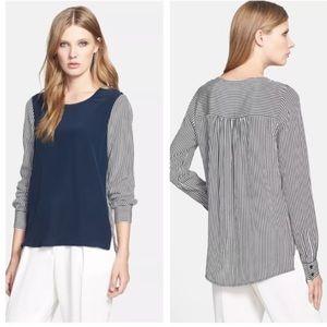 Dianne Von Furstenberg silk stripe & zipper blouse